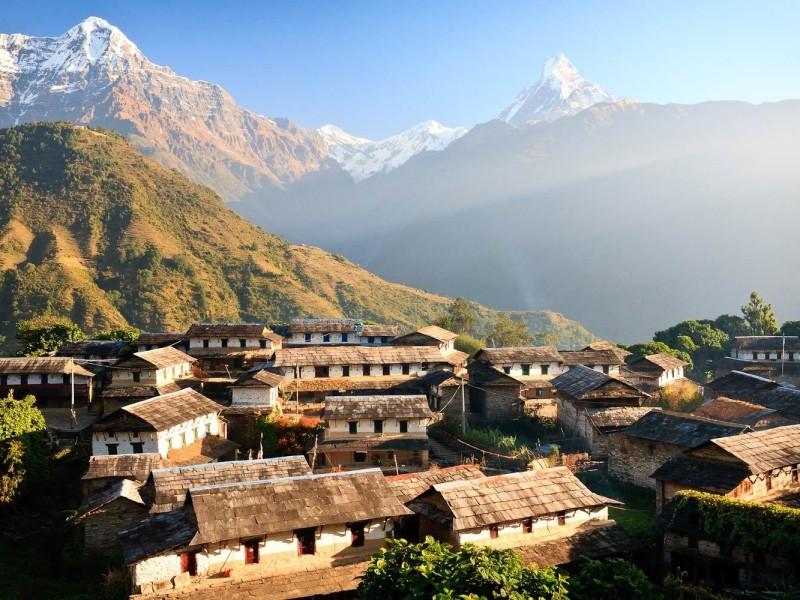 Nepáli falu, tájkép